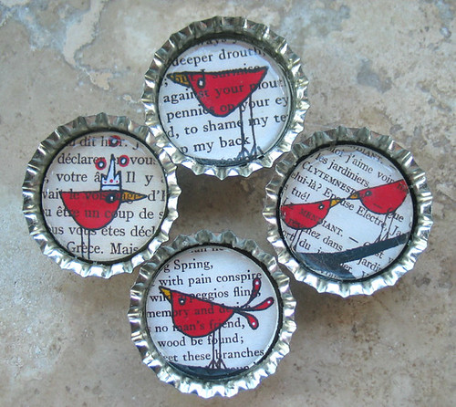 4 Folk Inspired Red Birds-Bottle Cap Magnets with White Organza Bag-By DeadpanAlley | by BeansThings