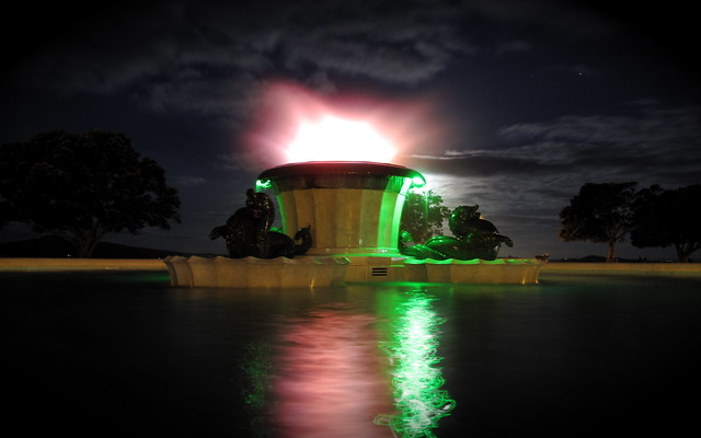 Mission bay fountain at night auckland flickr photo - Mission bay swimming pool auckland ...