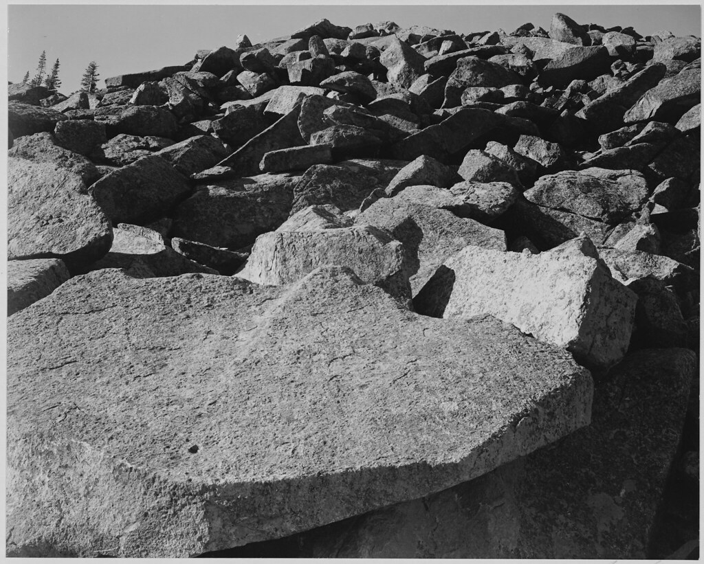 Rock formation moraine rocky mountain national park c for Ansel adams the mural project 1941 to 1942