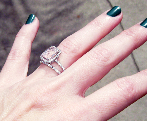 Pink Diamond Engagement Ring Emerald Cut