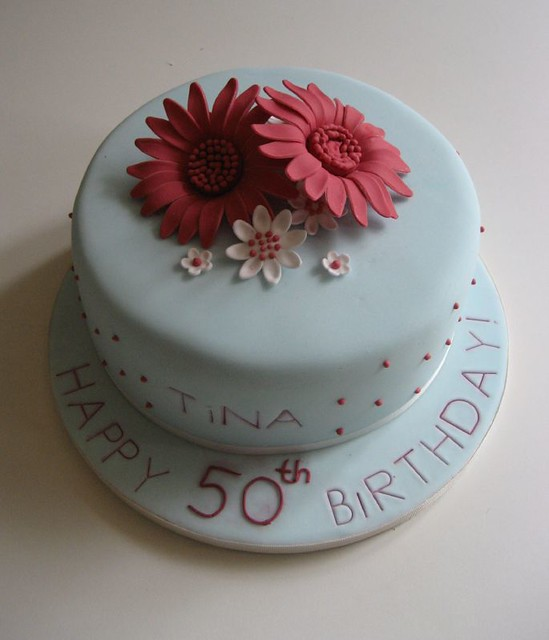 50th Birthday Cake With Gerberas