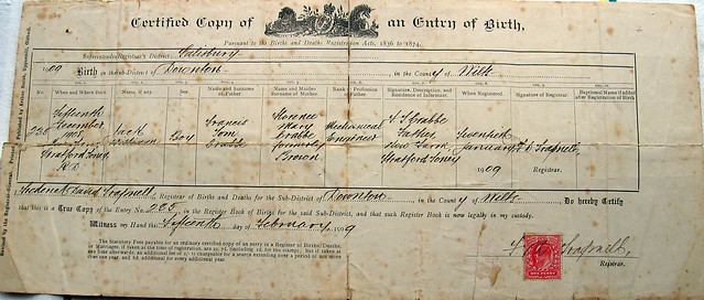 Old Birth Certificate | Birth Certificate for Jack William ...