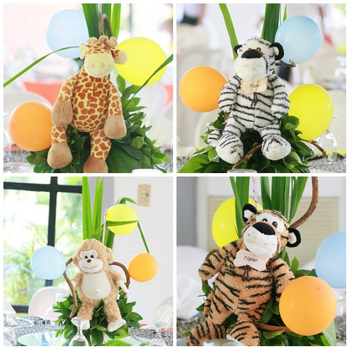 Centertable centerpieces safari animals my posts on dw for Baby shower party junge