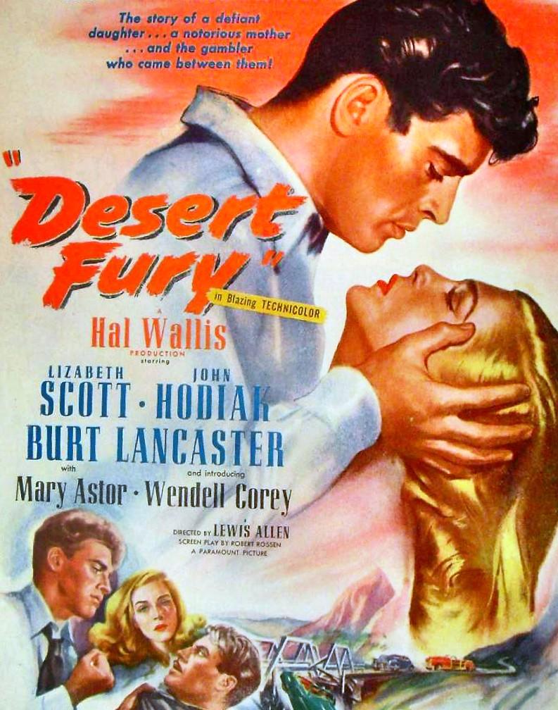 1940s Vintage Desert Fury 1947 Illustration Movie Poster B