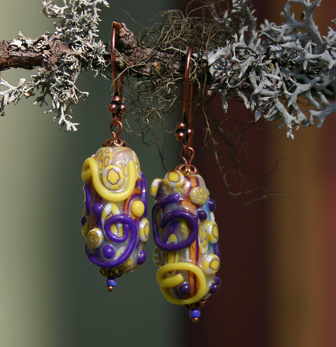 Earrings with Faux Lampwork Bead | by X by Leina Neima