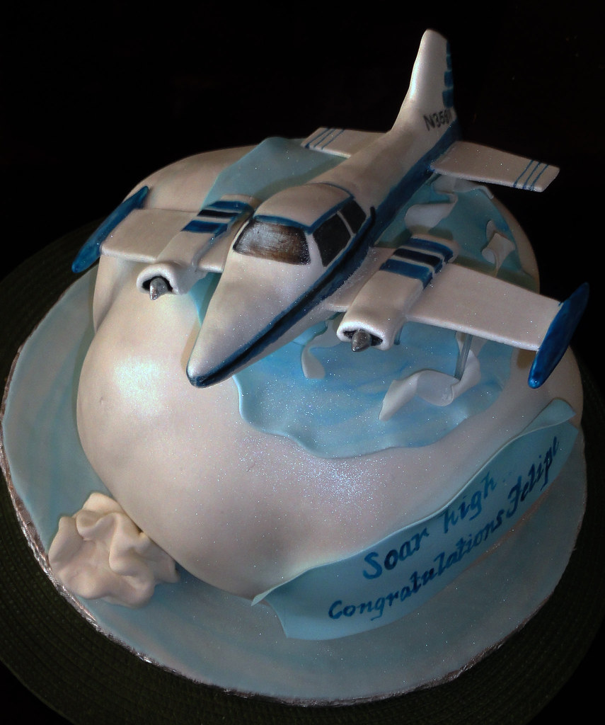 Airplane cake  Airplane is made of rice cereal with fondant ...