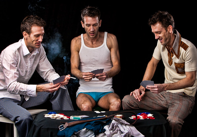 Guys playing strip poker