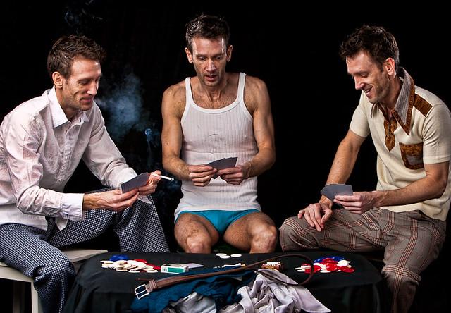 Guys playing strip poker
