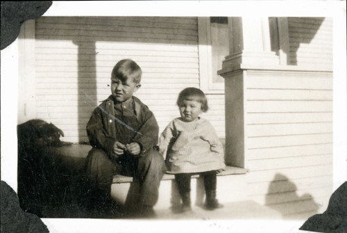 Two children on steps