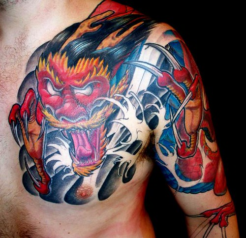 Japanese dragon tattoo red japanese style dragon chest for Japanese style chest tattoos