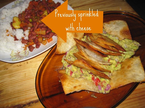 Taco Fixings and Nachos with Guacamole | by veganbackpacker
