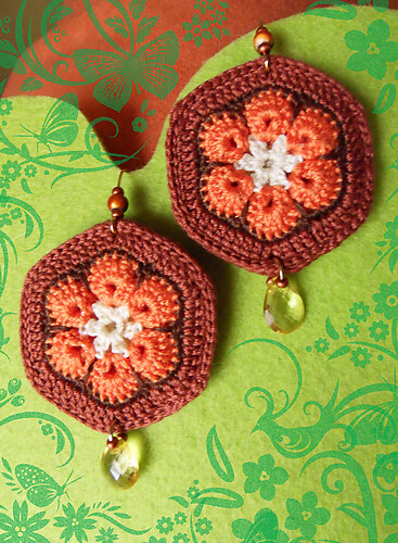 African Flower Earrings I Crochet 4 Of The African Flower Flickr