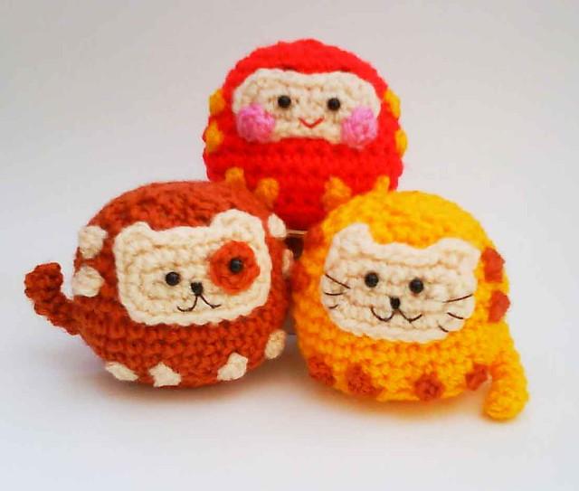 Japanese Amigurumi Blog : Daruma Japanese wish dolls Kitty Doggy Amigurumi Crochet p ...