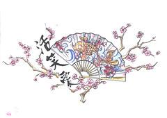 chinese fan tattoo design chris hatch tattoo artist flickr. Black Bedroom Furniture Sets. Home Design Ideas