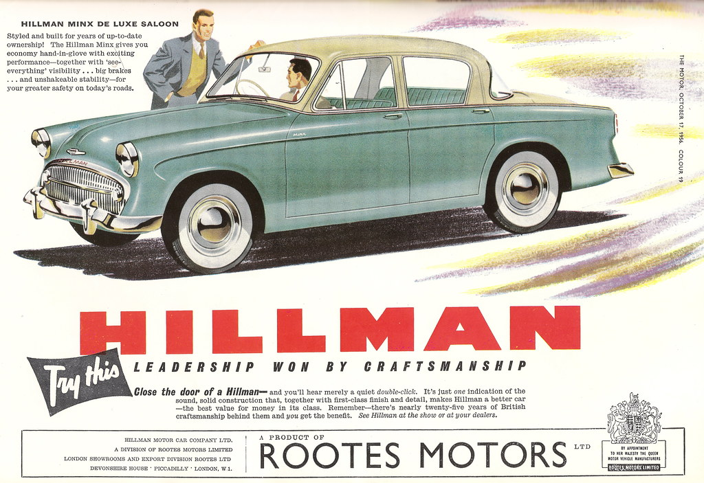 Hillman Cars Advert Issued By Rootes Motors Of Coventry I