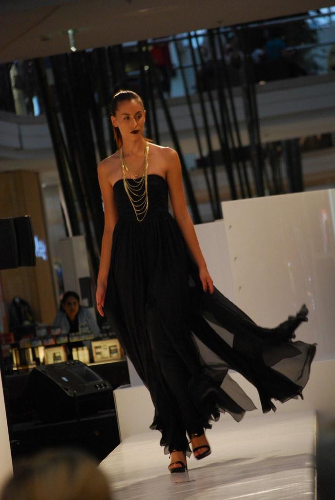 Black Flowing Dress Lisa Ho Runway Show Chadstone