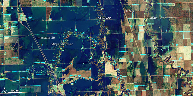 Red River Flooding in North Dakota | NASA Satellite image ...