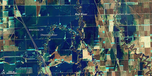 Red River Flooding In North Dakota Nasa Satellite Image