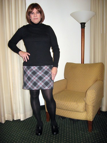 Plaid Skirt with tights and loafers