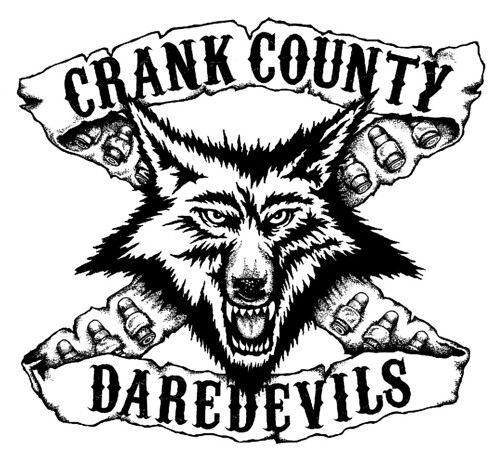 Wolf logo illustration for the dirty rock band crank cou