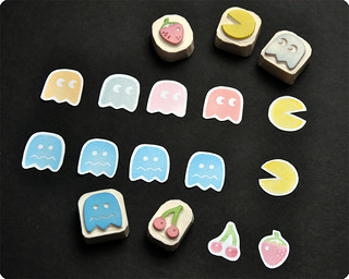 Pacman hand carved rubber stamp set | by Memi The Rainbow