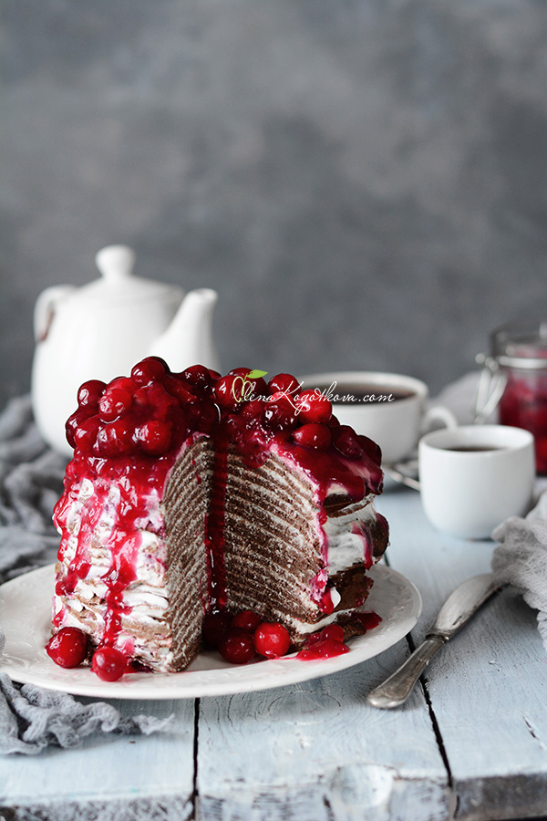 Pancake Cake Chocolate Cherry