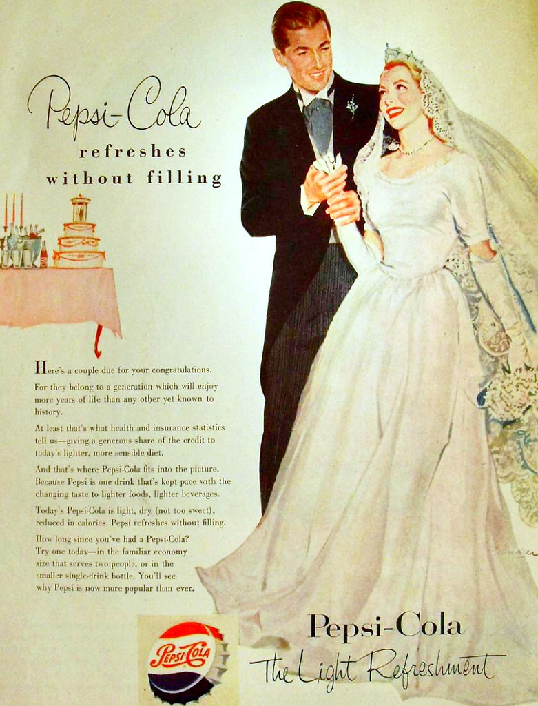 1950s PEPSI COLA Vintage Illustration Soda Advertisement Bride Groom