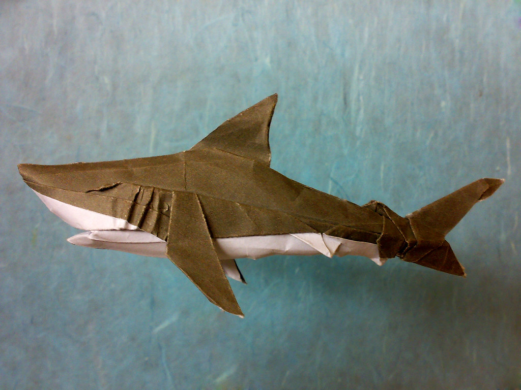Origami Great White Shark Designed Folded By Me Using Un Flickr