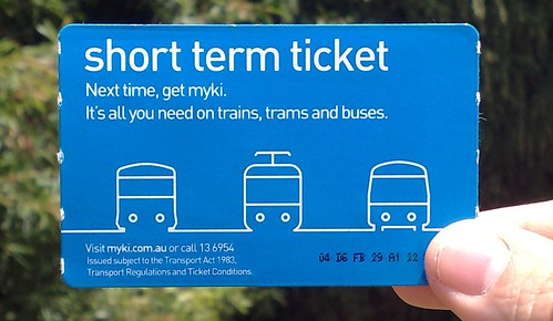 Myki Short term ticket | by PTUA