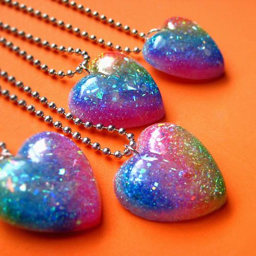 stunningly beautiful glittery rainbow heart necklaces by i