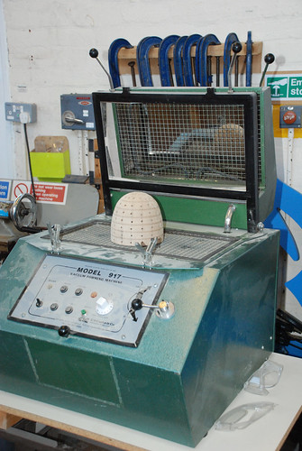 The vacuum forming machine, forming the dome for Calvin's model | by Jordanhill School D&T Dept