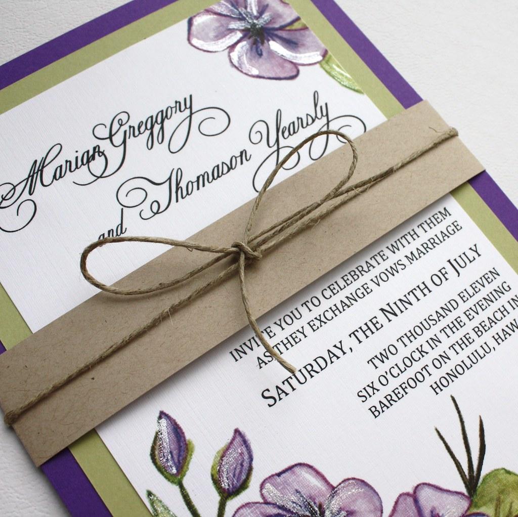 Purple And Green Floral Wedding Invitation Set