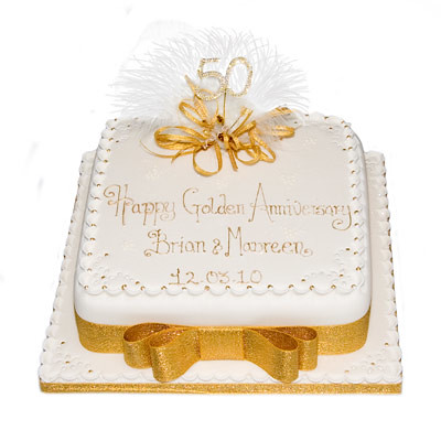 50th Wedding Anniversary Cake | A sophisticated square cake … | Flickr