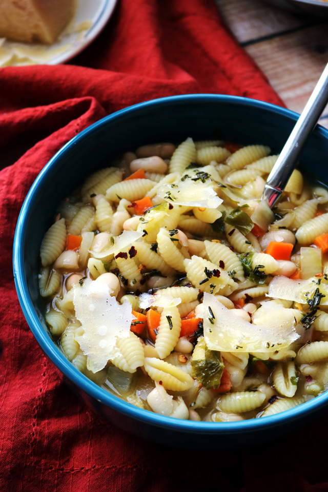 White Bean Soup with Pasta and Rosemary Oil
