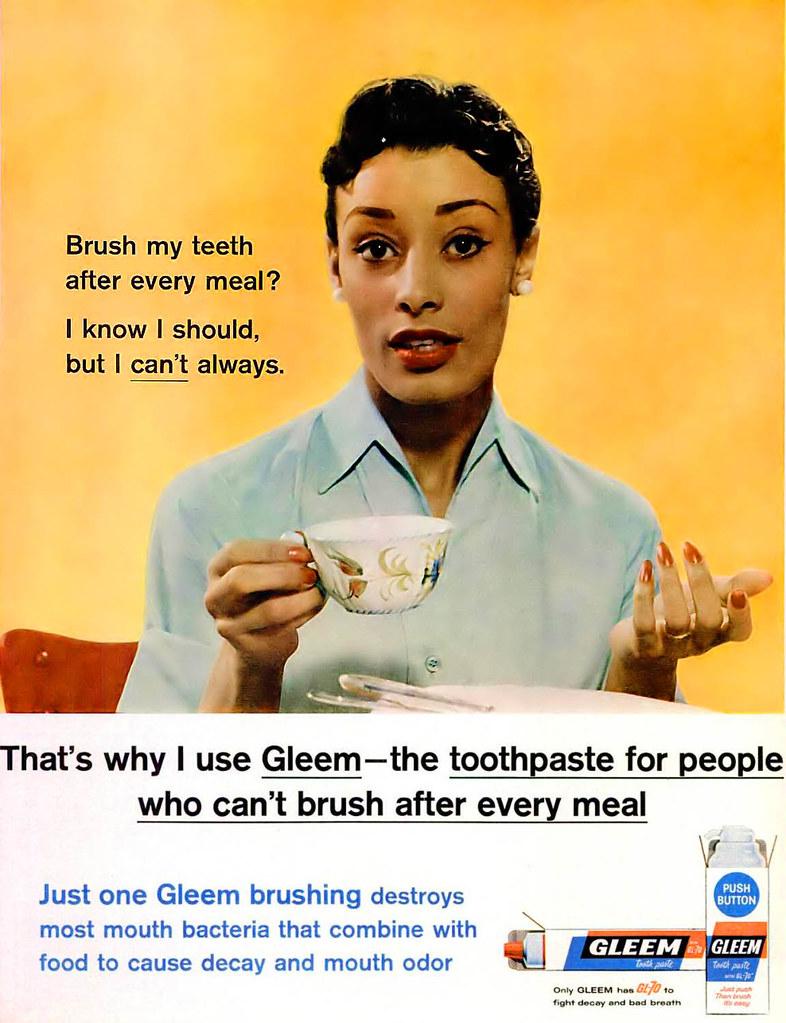 Gleem Toothpaste Advertisement - Ebony Magazine, July, 196