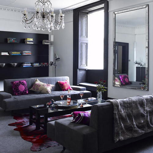 grey and pink living room.  Elegant and Glamorous Pink Grey Living Room by BrunchatSaks Post on Br Flickr