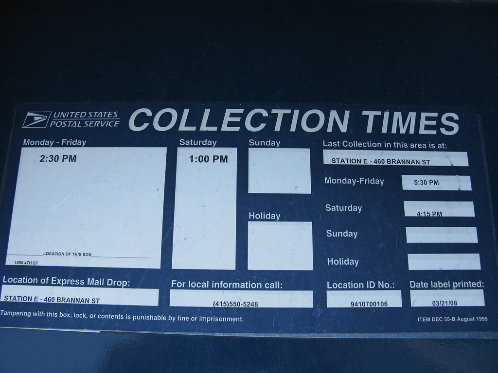 4th Street USPS mailbox collection times | at UCSF Mission ...