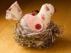 Linen Bird Ornament | by PatchworkPottery