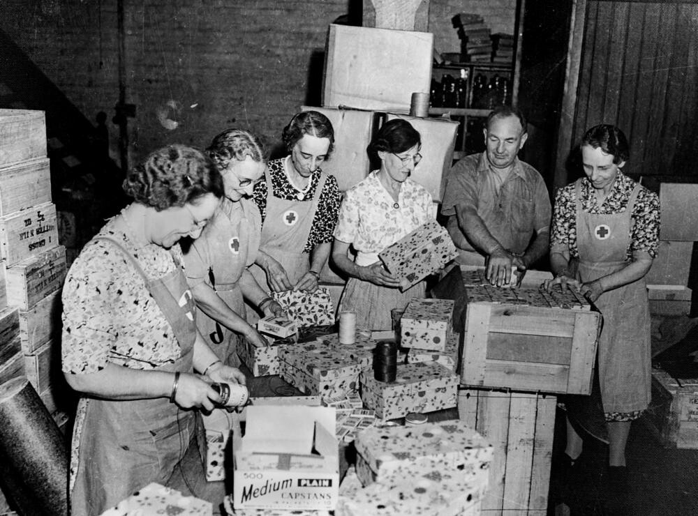Red Cross Workers Packing Christmas Presents For The Fight