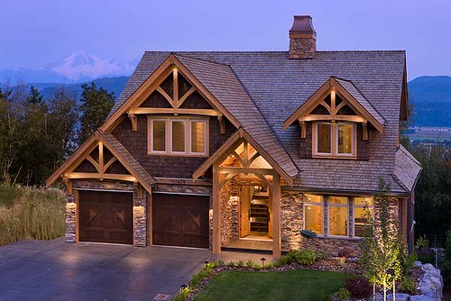 Mountain view timber frame home exterior set at the for Mountain house plans with a view