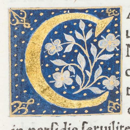 decorated initial  u0026quot c u0026quot  from scriptores historiae augustae