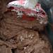 mixing chocolate cupcake batter