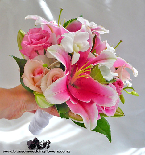 pink-lily-orchid-bouquet | Bridesmaid's bouquet with pink ...