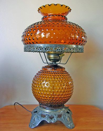 1970 Amber Hobnail Gone With The Wind Lamp Amber Glass