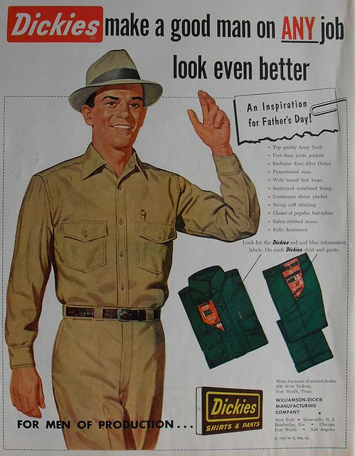 1953 Dickies Mens Pants Blue Collar Uniform Fashion Clothi