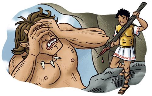 Ulysse et le cyclope 02 illustration r 233 alis 233 e pour un ouvr