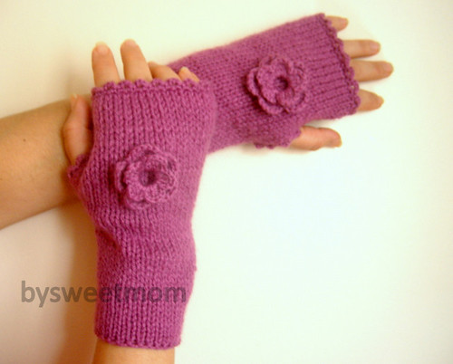 Romantic Dark Pink Flowered Fingerless Gloves, Mittens - Hand knitted | by bysweetmom