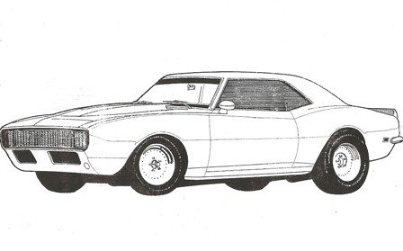68 Camaro Pen On Vellum 1996 Www Simplyillustrate Com