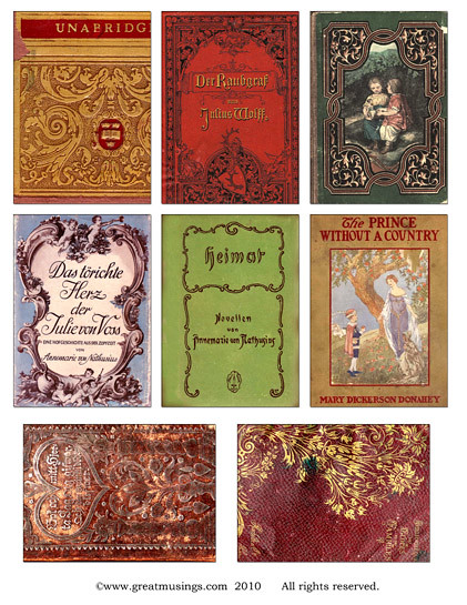 Book Covering Sheets : Vintage book covers collage sheet digital
