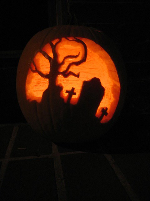 Graveyard pumpkin i tried following the stencil for this